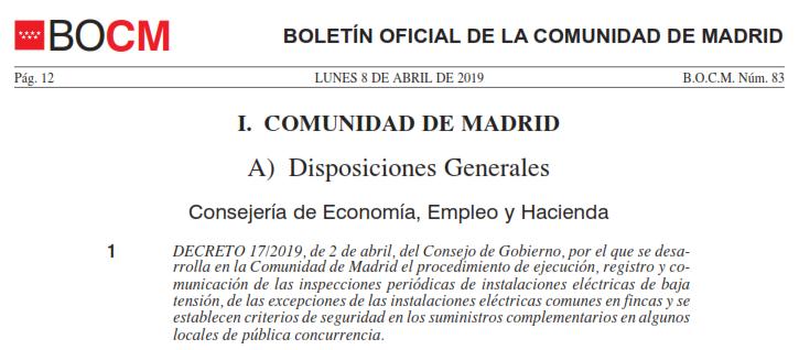 BOCM Número 83, decreto 17/2019, de 2 de abril sobre alumbrado de emergencia autotest