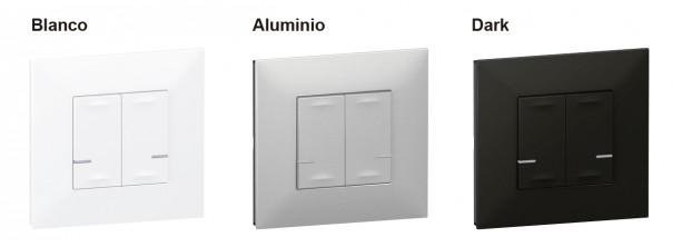 Gama de colores del comando inalambrico doble de Legrand, blanco aluminio y negro